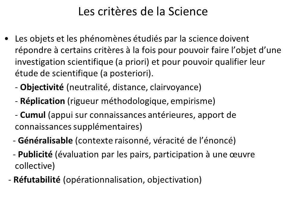 Les critères de la Science