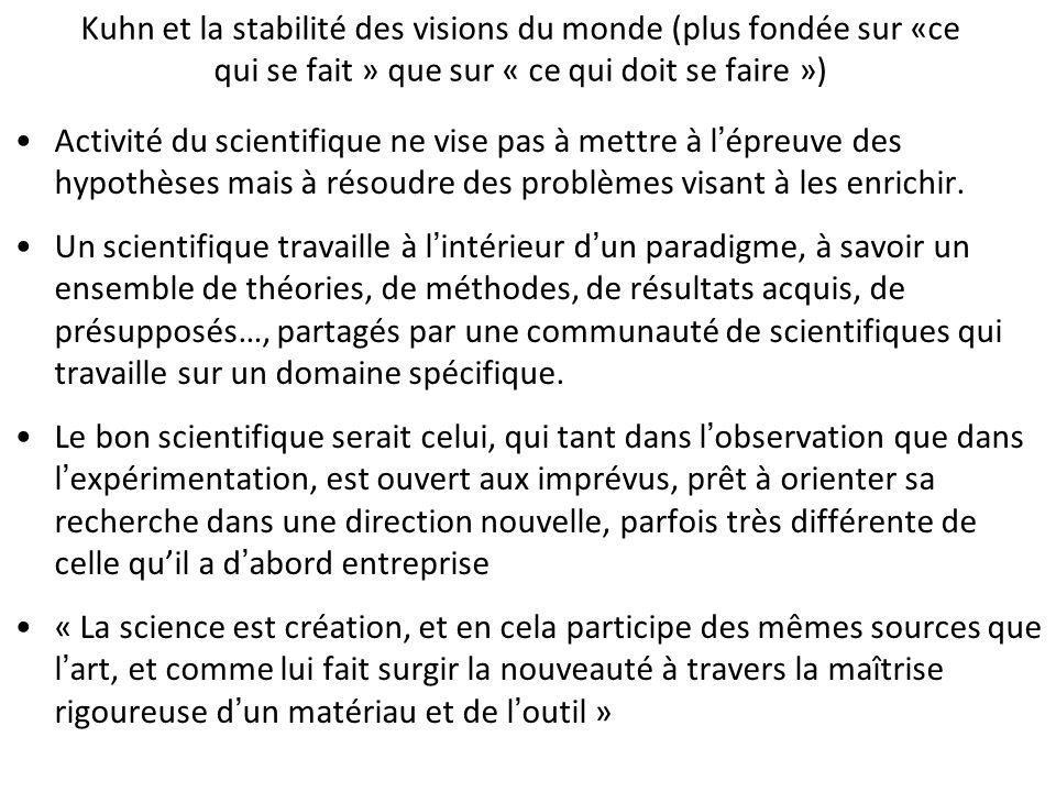 Kuhn et la stabilité des visions du monde (plus fondée sur «ce qui se fait » que sur « ce qui doit se faire »)