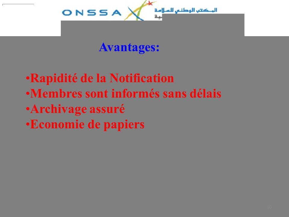 Rapidité de la Notification Membres sont informés sans délais