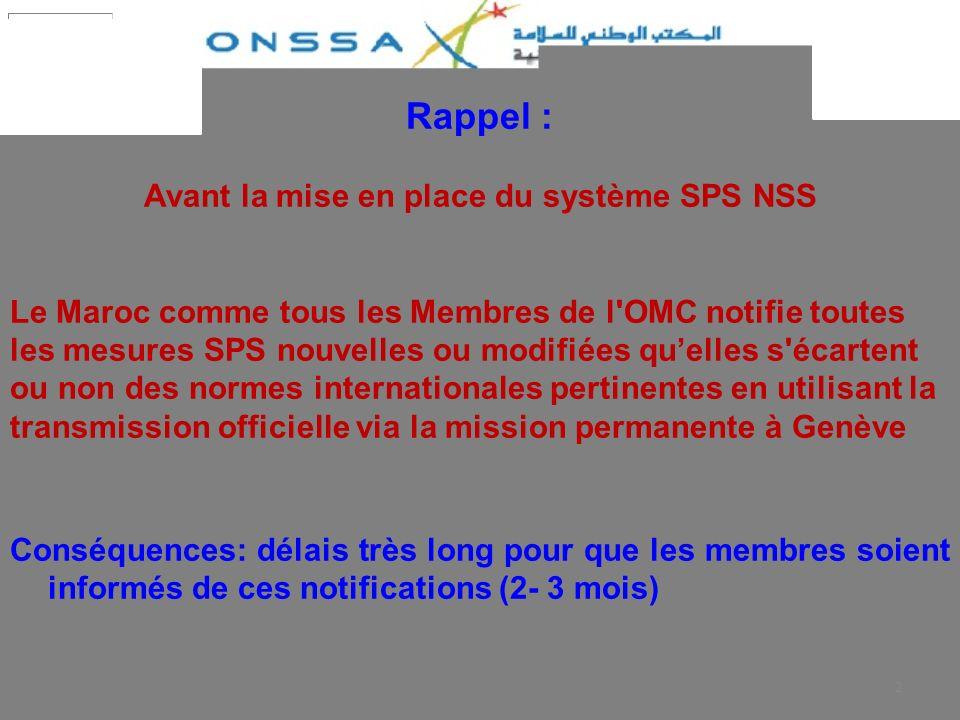 Avant la mise en place du système SPS NSS