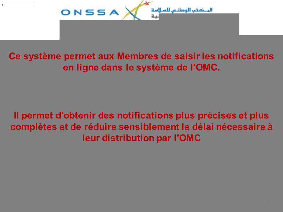 Ce système permet aux Membres de saisir les notifications en ligne dans le système de l OMC.
