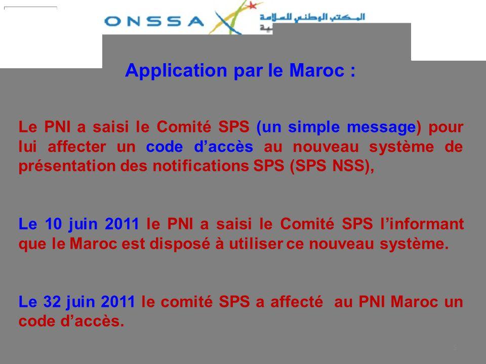 Application par le Maroc :