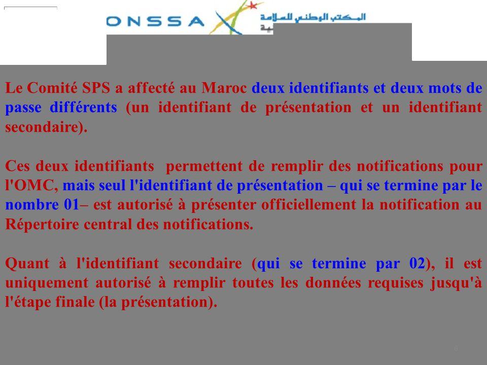 Le Comité SPS a affecté au Maroc deux identifiants et deux mots de passe différents (un identifiant de présentation et un identifiant secondaire).