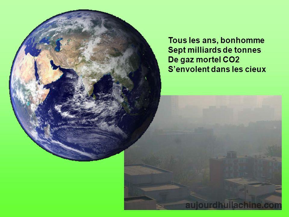 Tous les ans, bonhomme Sept milliards de tonnes De gaz mortel CO2 S'envolent dans les cieux