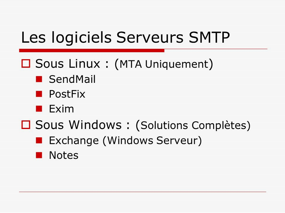 Les logiciels Serveurs SMTP