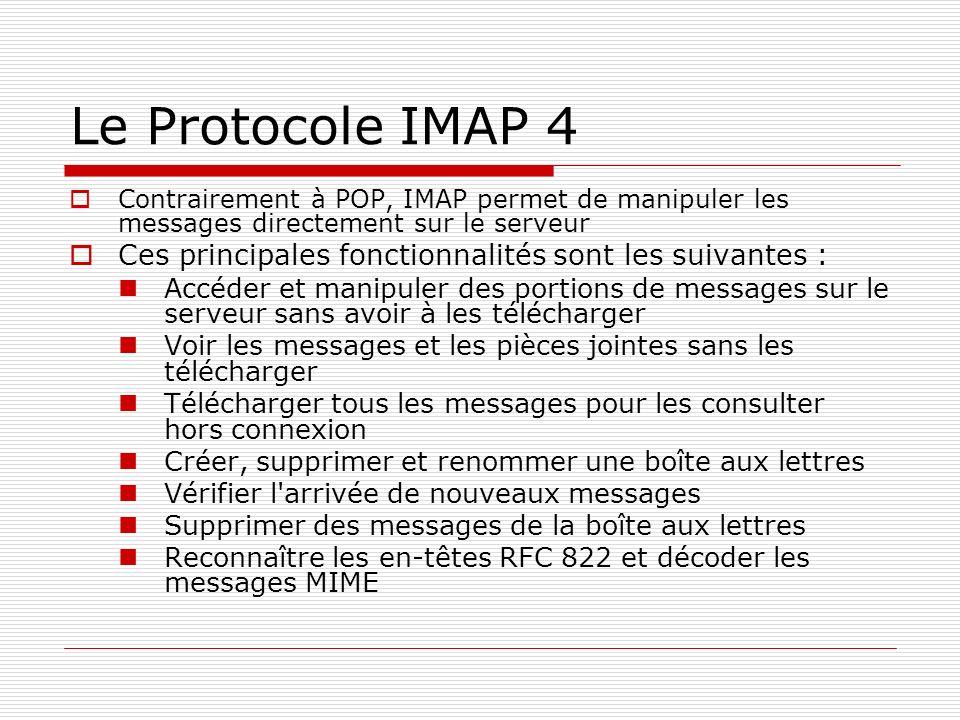 Le Protocole IMAP 4 Contrairement à POP, IMAP permet de manipuler les messages directement sur le serveur.