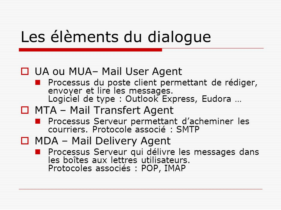 Les élèments du dialogue