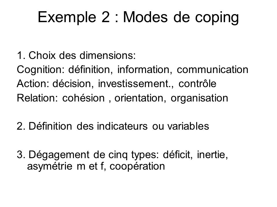 Exemple 2 : Modes de coping