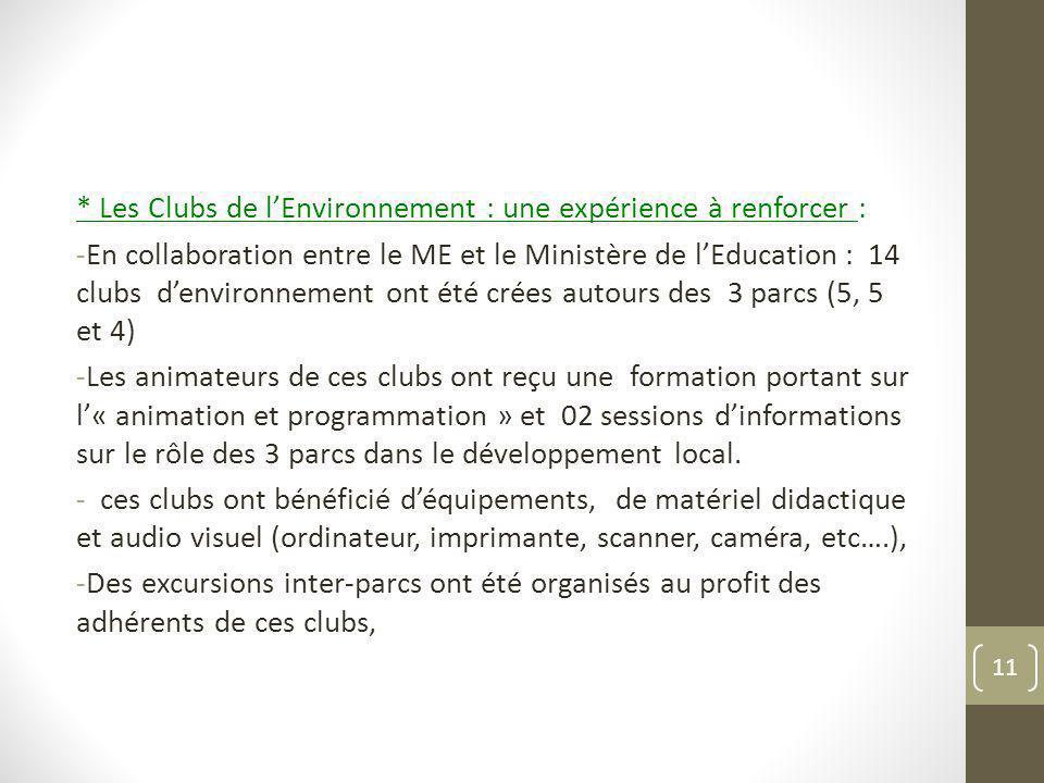 * Les Clubs de l'Environnement : une expérience à renforcer :