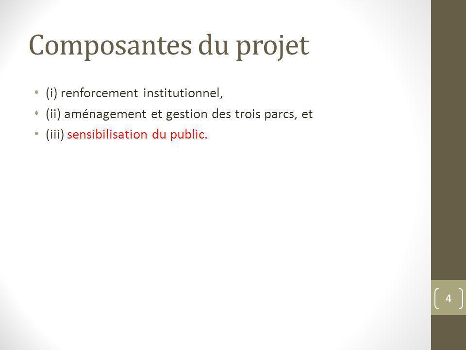 Composantes du projet (i) renforcement institutionnel,