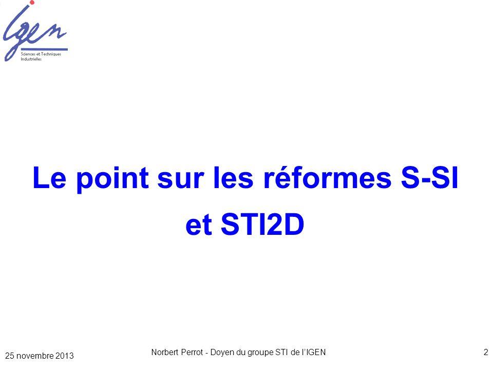 Le point sur les réformes S-SI et STI2D