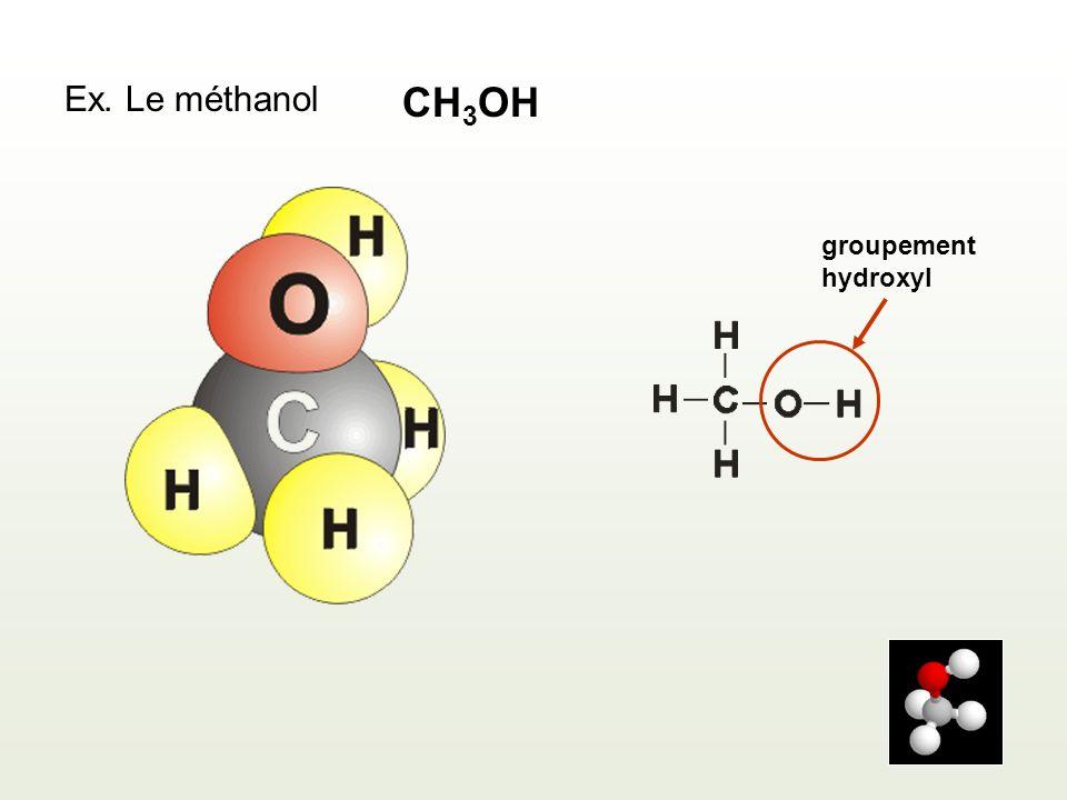 Ex. Le méthanol CH3OH groupement hydroxyl