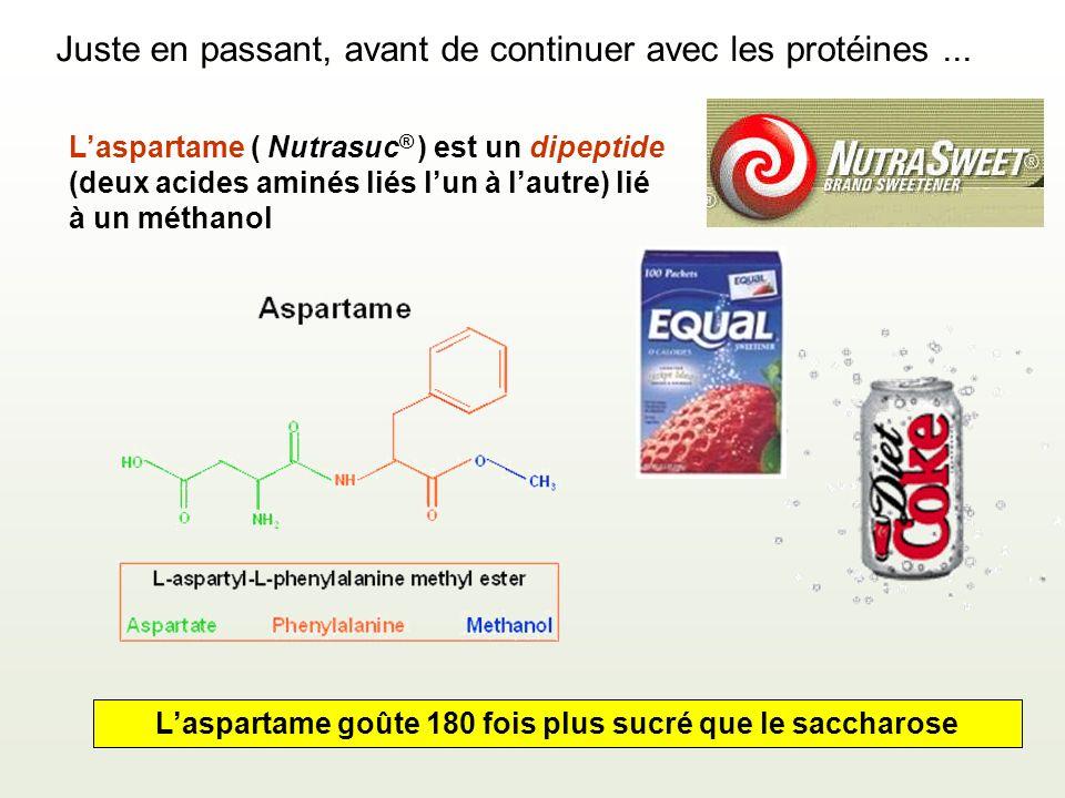 L'aspartame goûte 180 fois plus sucré que le saccharose
