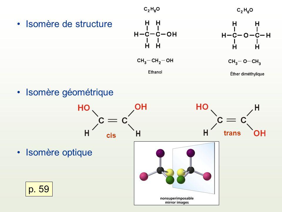 Isomère de structure Isomère géométrique Isomère optique p. 59 trans