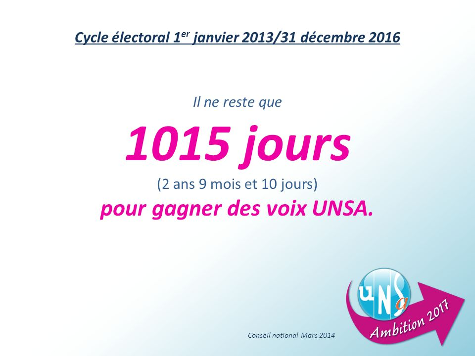 1015 jours pour gagner des voix UNSA.