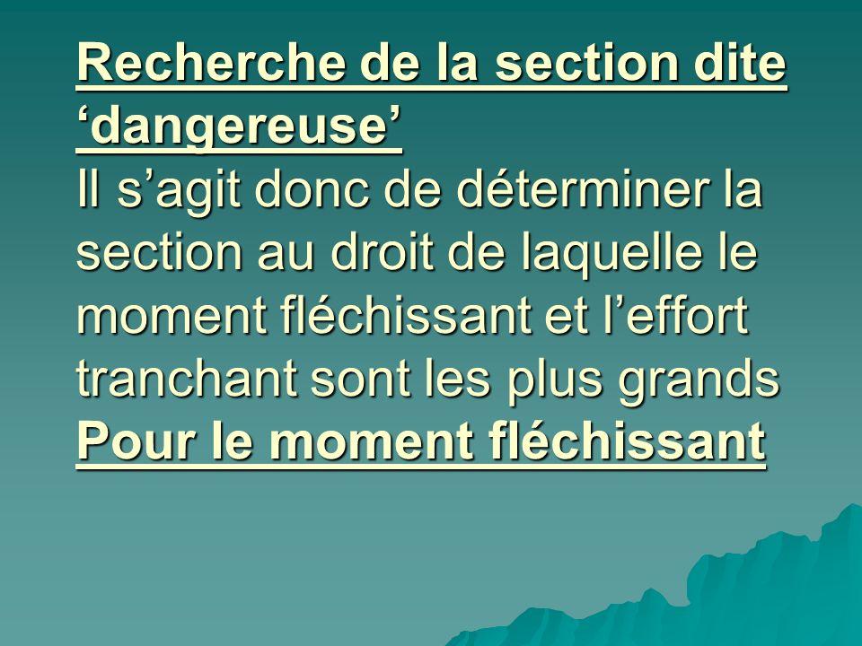 Recherche de la section dite 'dangereuse' Il s'agit donc de déterminer la section au droit de laquelle le moment fléchissant et l'effort tranchant sont les plus grands Pour le moment fléchissant