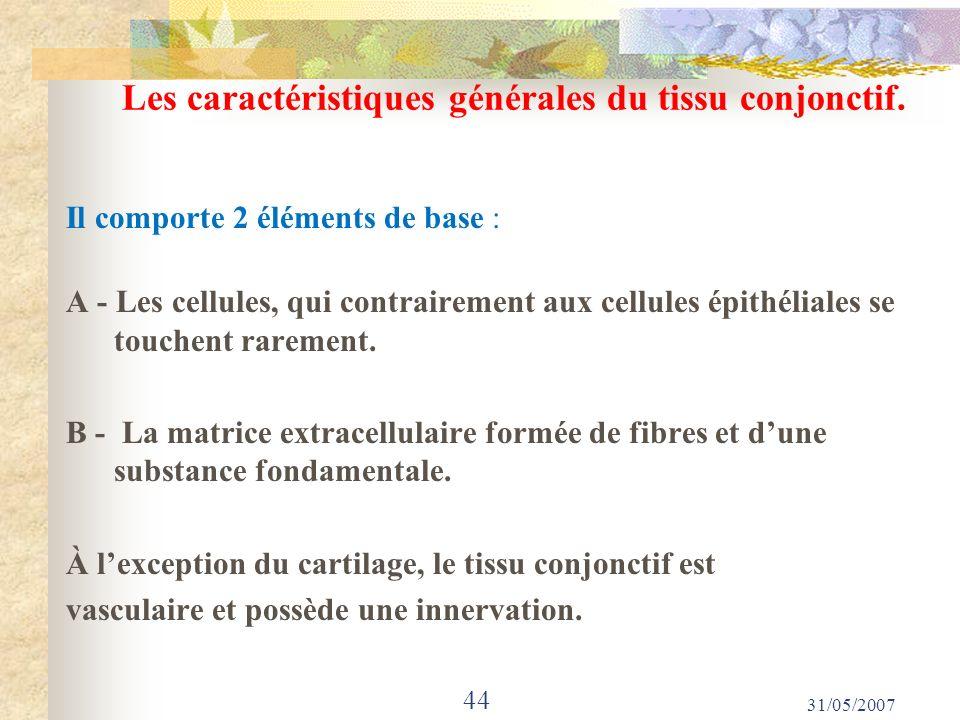 Les caractéristiques générales du tissu conjonctif.