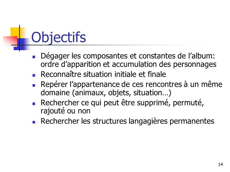Objectifs Dégager les composantes et constantes de l'album: ordre d'apparition et accumulation des personnages.