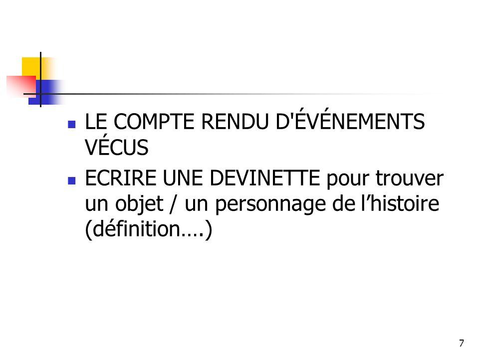 LE COMPTE RENDU D ÉVÉNEMENTS VÉCUS