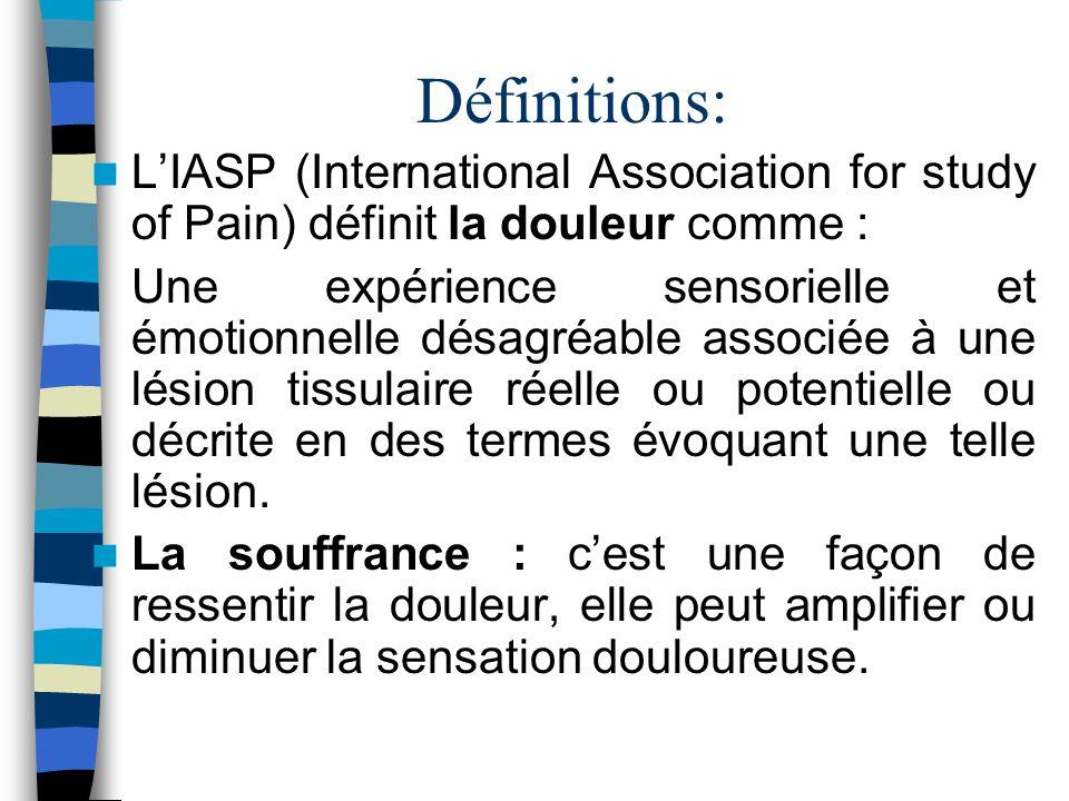 Définitions: L'IASP (International Association for study of Pain) définit la douleur comme :