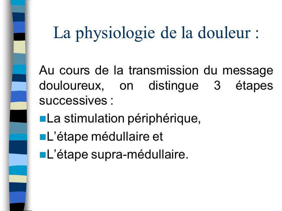 La physiologie de la douleur :