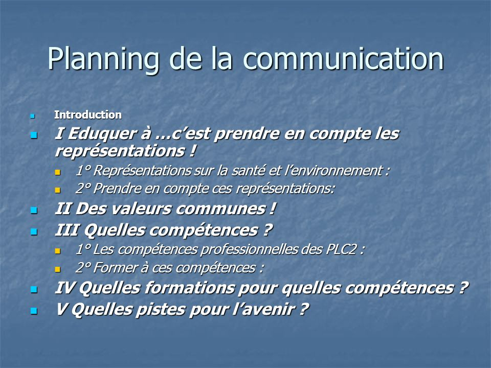 Planning de la communication