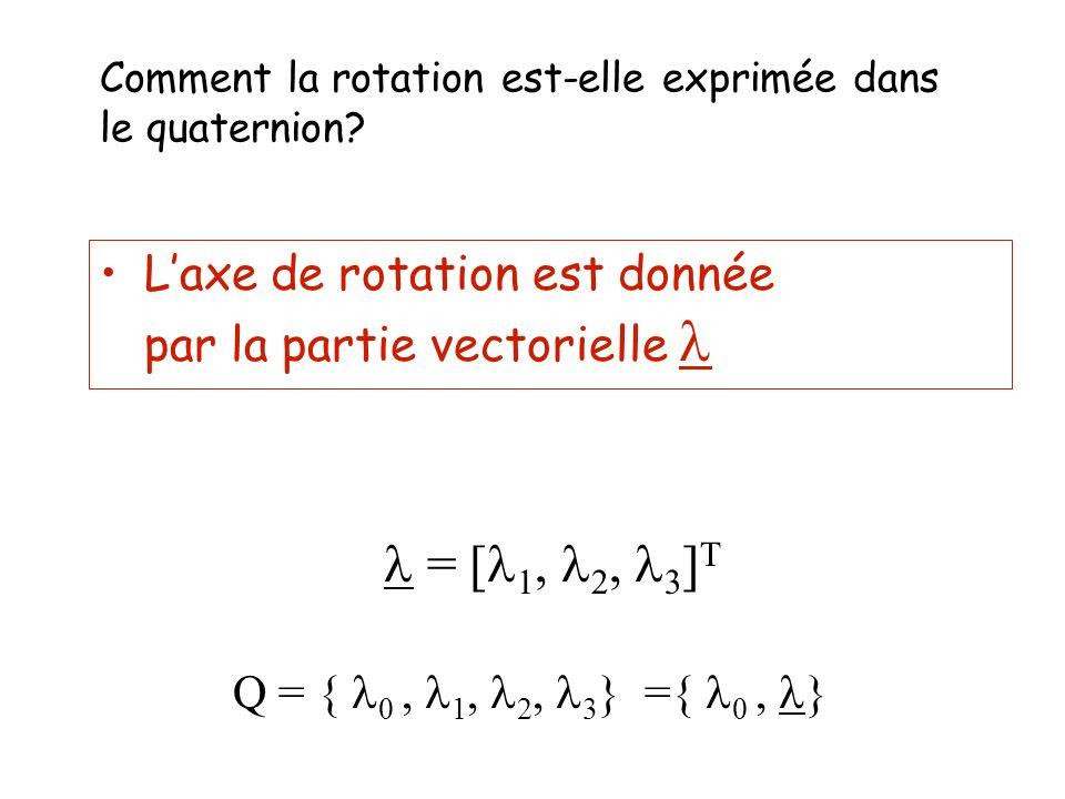 Comment la rotation est-elle exprimée dans le quaternion