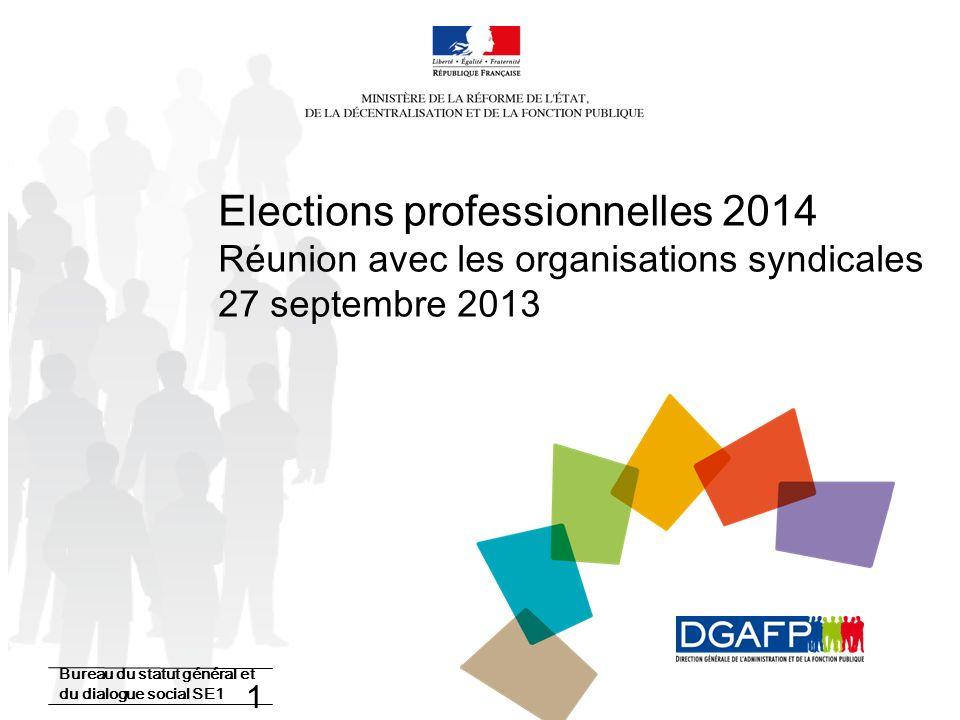22/10/13 Elections professionnelles 2014 Réunion avec les organisations syndicales 27 septembre 2013.
