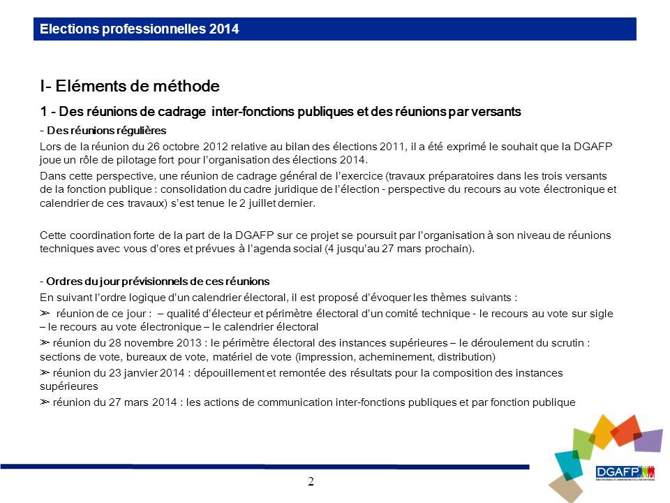 I- Eléments de méthode Elections professionnelles 2014