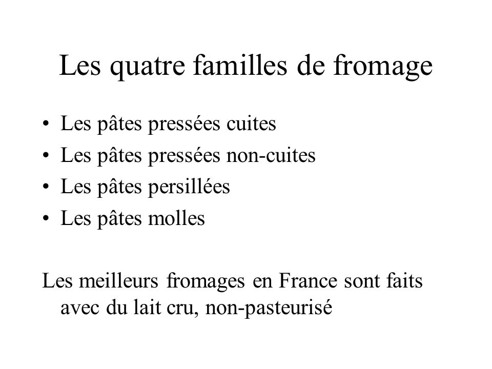 Les quatre familles de fromage
