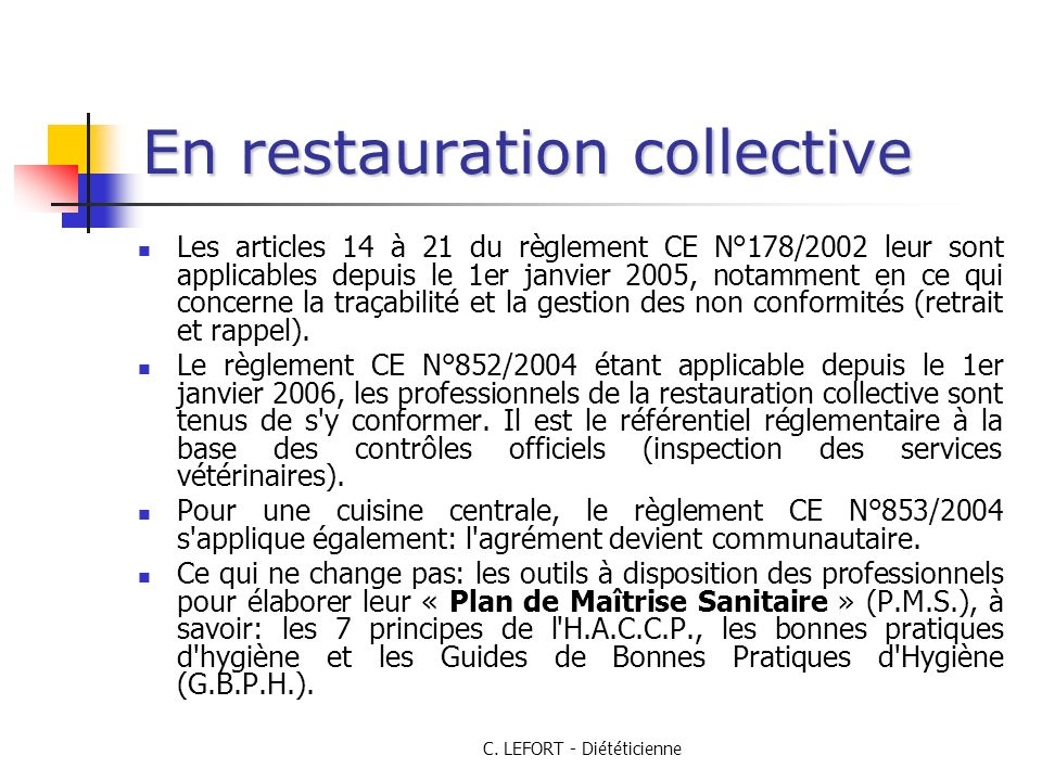 En restauration collective