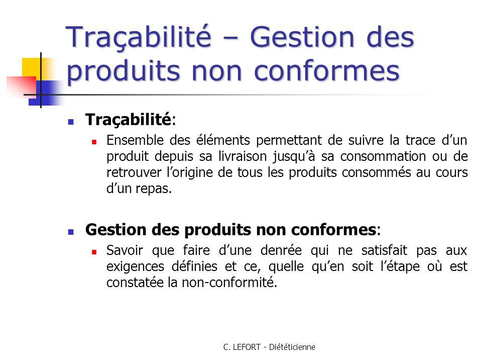 Traçabilité – Gestion des produits non conformes