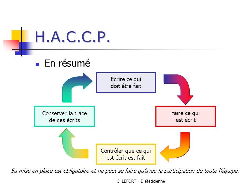 H.A.C.C.P. En résumé Ecrire ce qui doit être fait