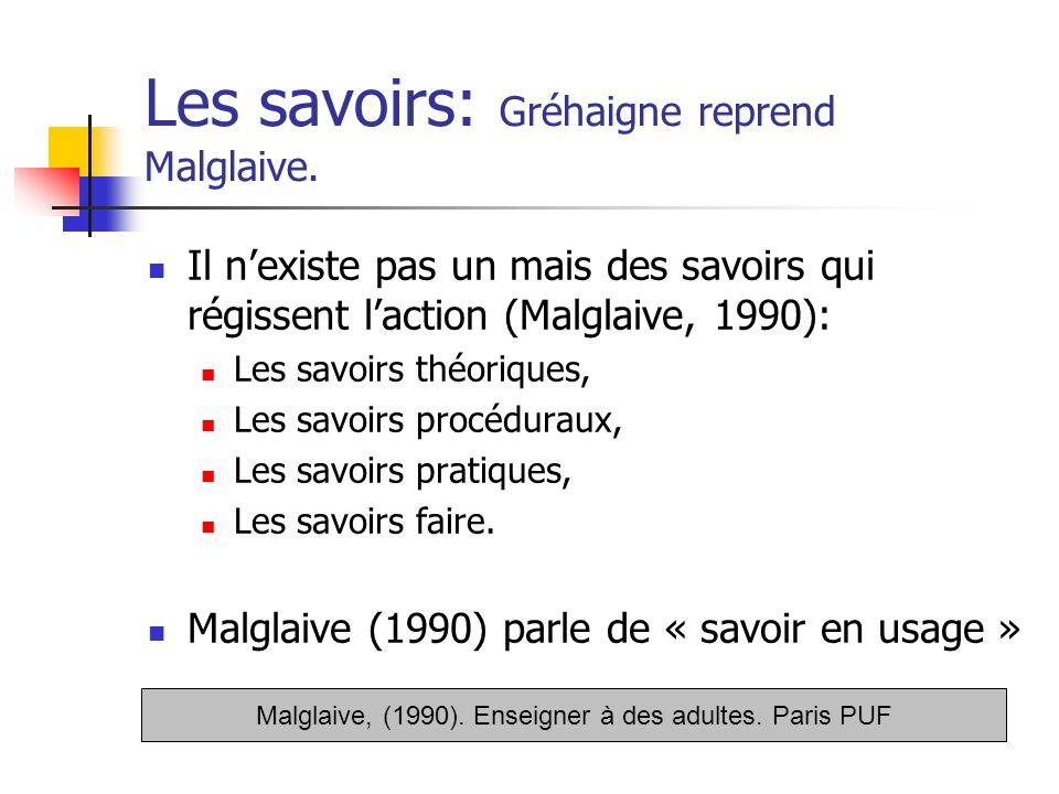 Les savoirs: Gréhaigne reprend Malglaive.