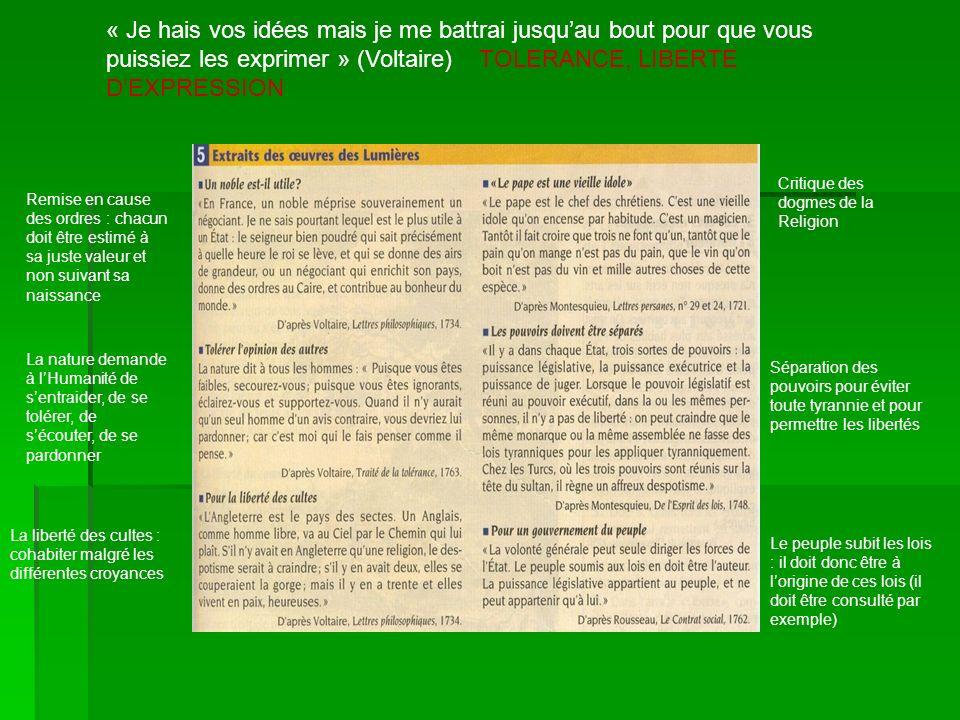 « Je hais vos idées mais je me battrai jusqu'au bout pour que vous puissiez les exprimer » (Voltaire) TOLERANCE, LIBERTE D'EXPRESSION