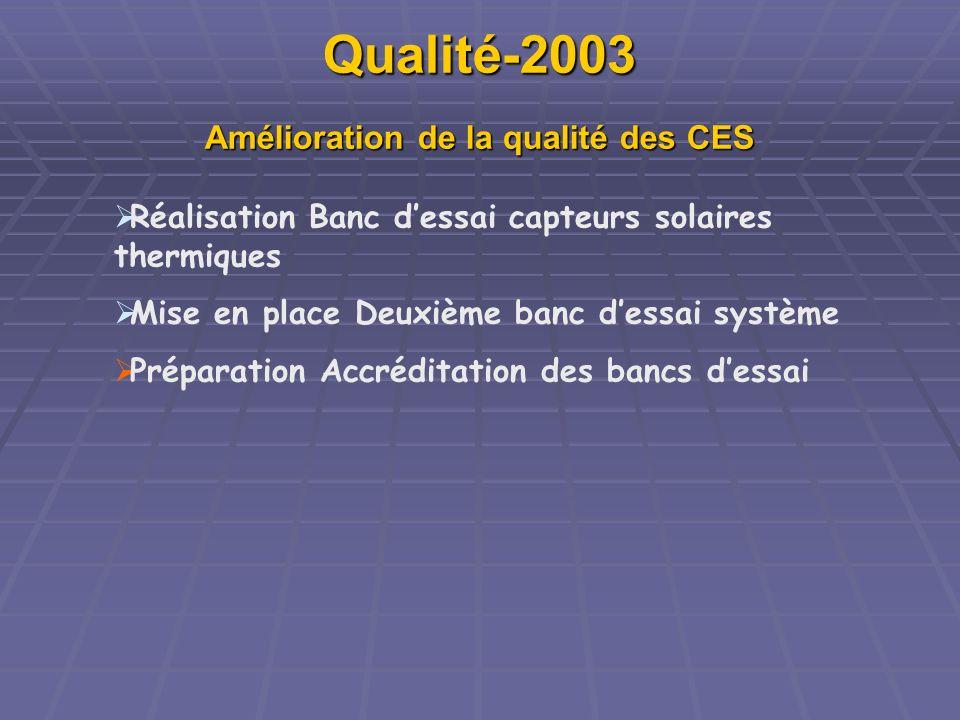 Qualité-2003 Amélioration de la qualité des CES