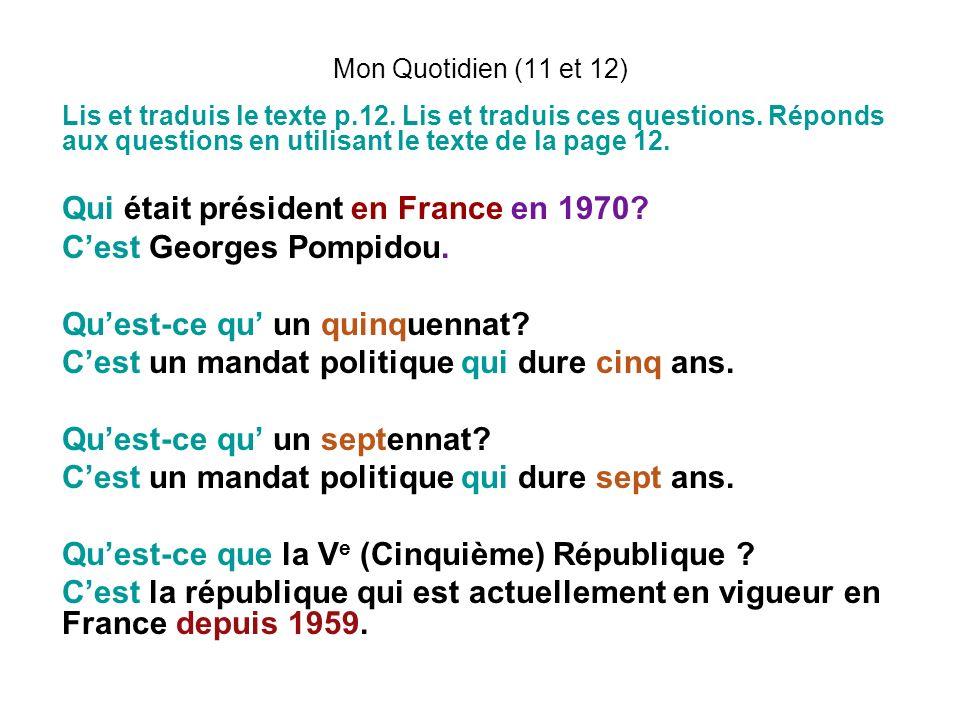 Qui était président en France en 1970 C'est Georges Pompidou.