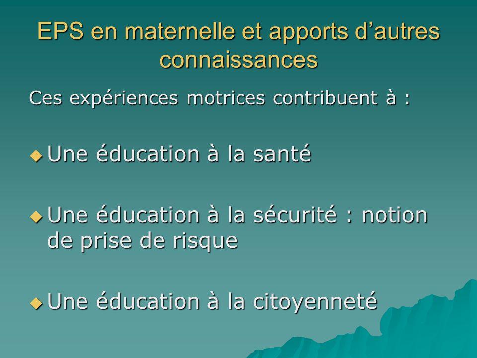 EPS en maternelle et apports d'autres connaissances