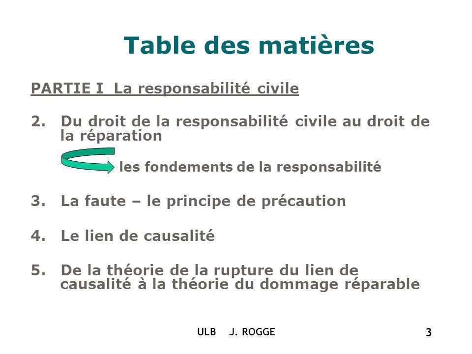 Table des matières PARTIE I La responsabilité civile
