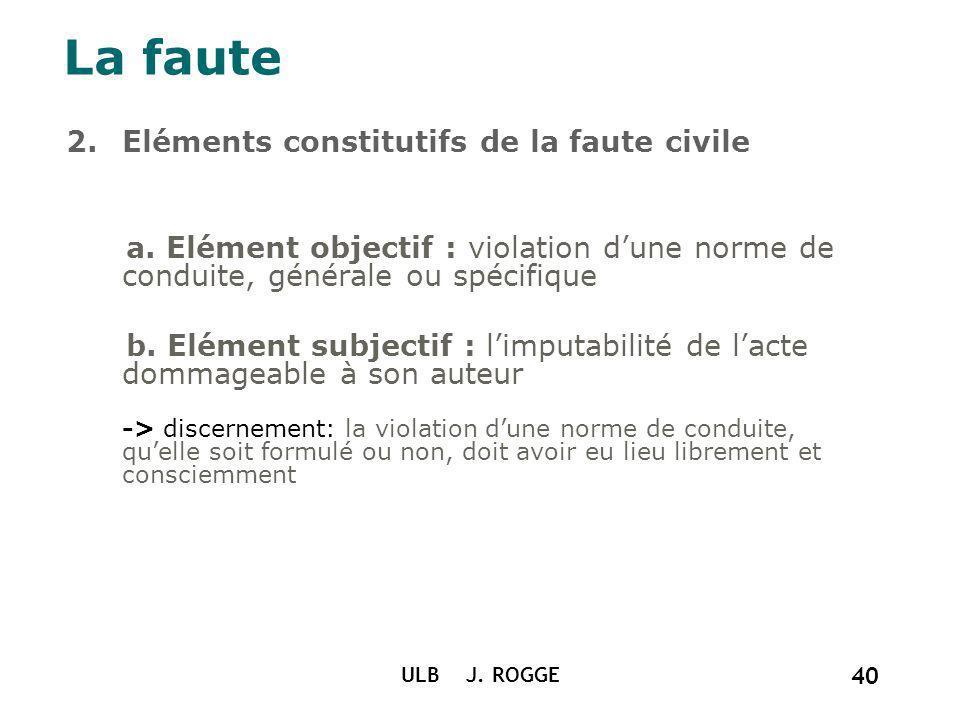La faute Eléments constitutifs de la faute civile