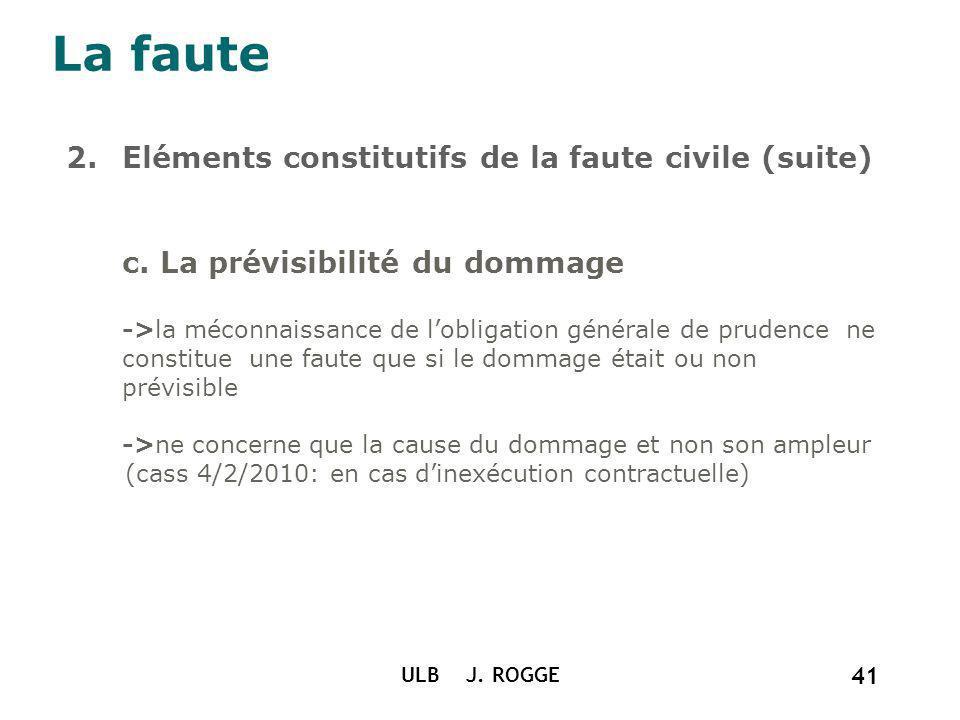La faute Eléments constitutifs de la faute civile (suite)