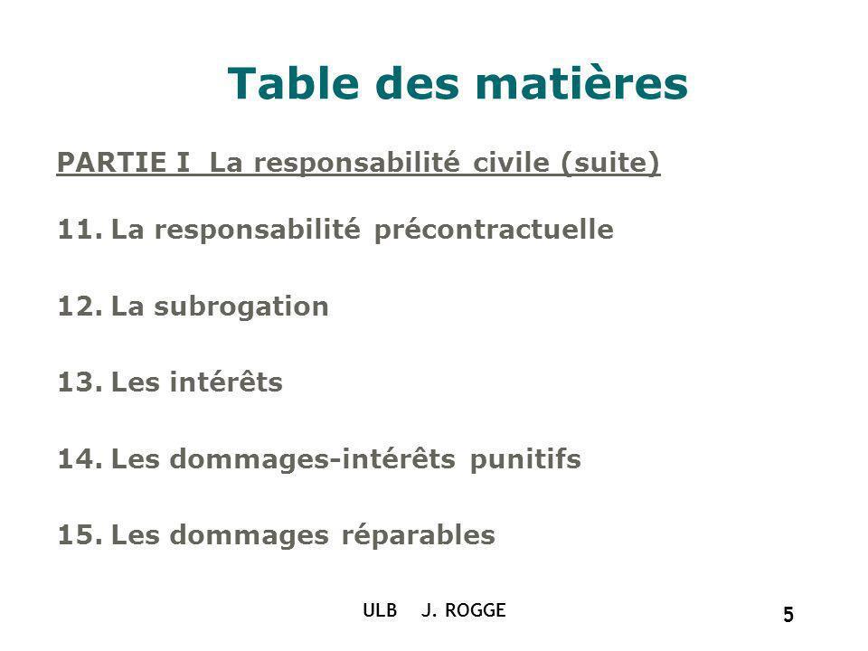 Table des matières PARTIE I La responsabilité civile (suite)