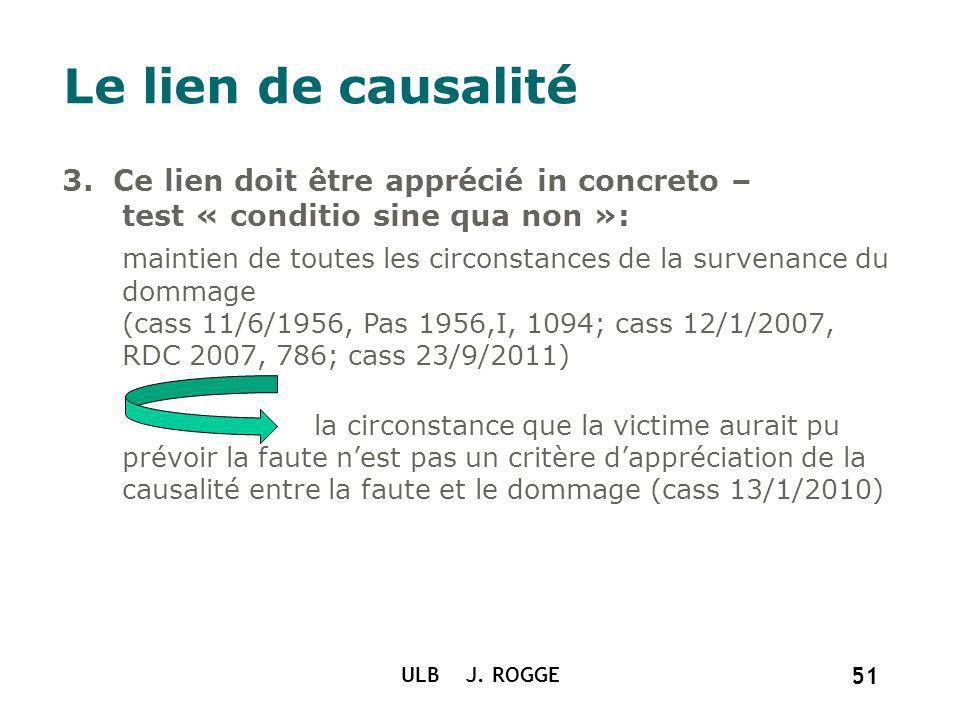 Le lien de causalité 3. Ce lien doit être apprécié in concreto – test « conditio sine qua non »: