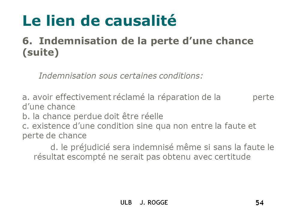 Le lien de causalité 6. Indemnisation de la perte d'une chance (suite) Indemnisation sous certaines conditions: