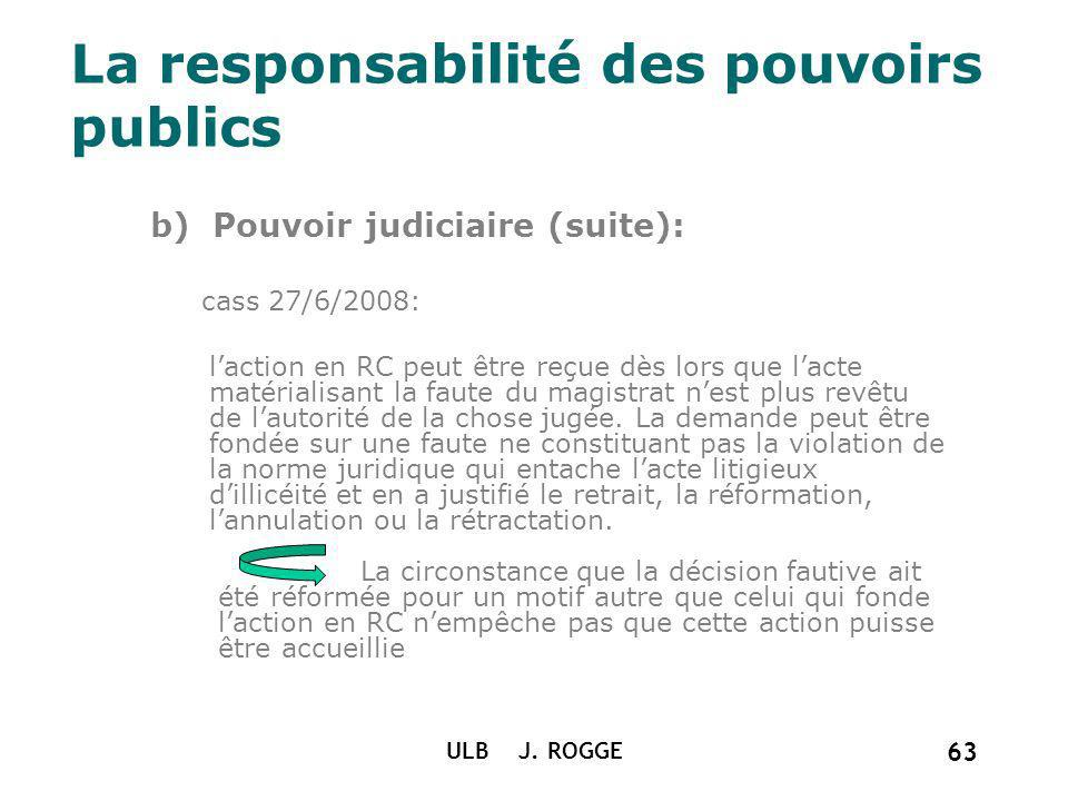 La responsabilité des pouvoirs publics