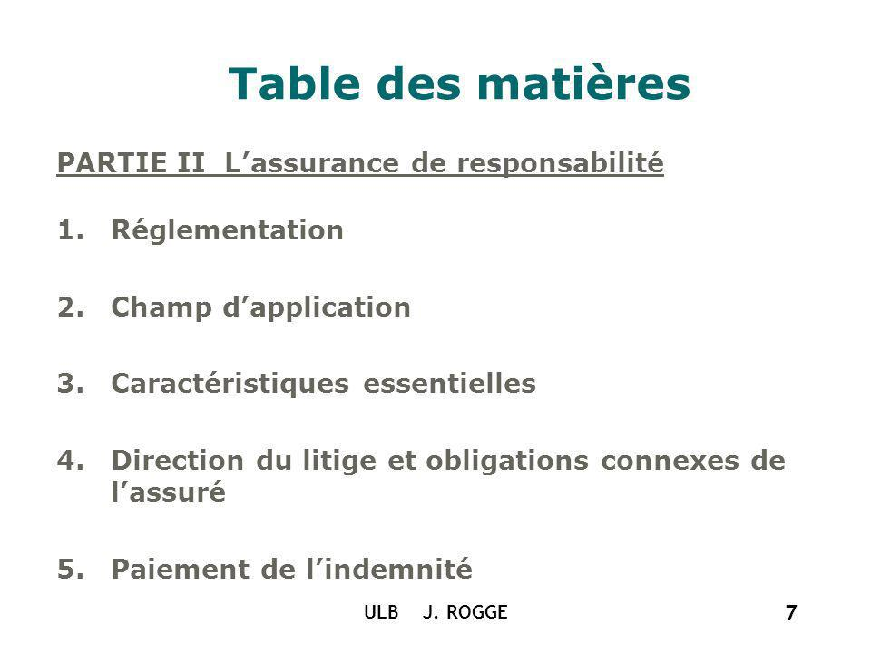 Table des matières PARTIE II L'assurance de responsabilité