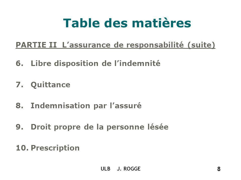 Table des matières PARTIE II L'assurance de responsabilité (suite)
