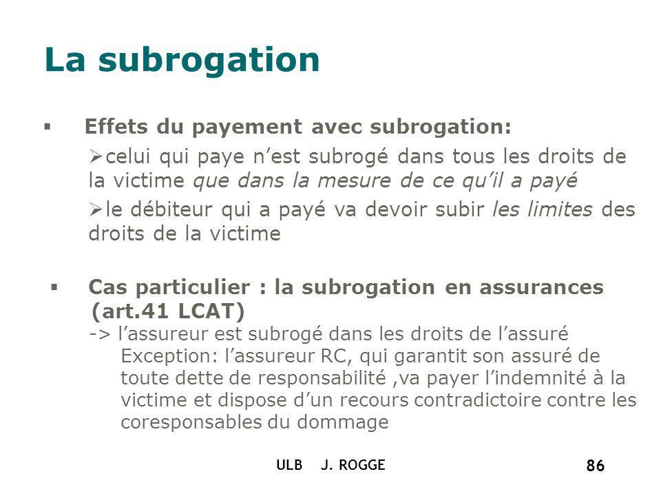 La subrogation Effets du payement avec subrogation: