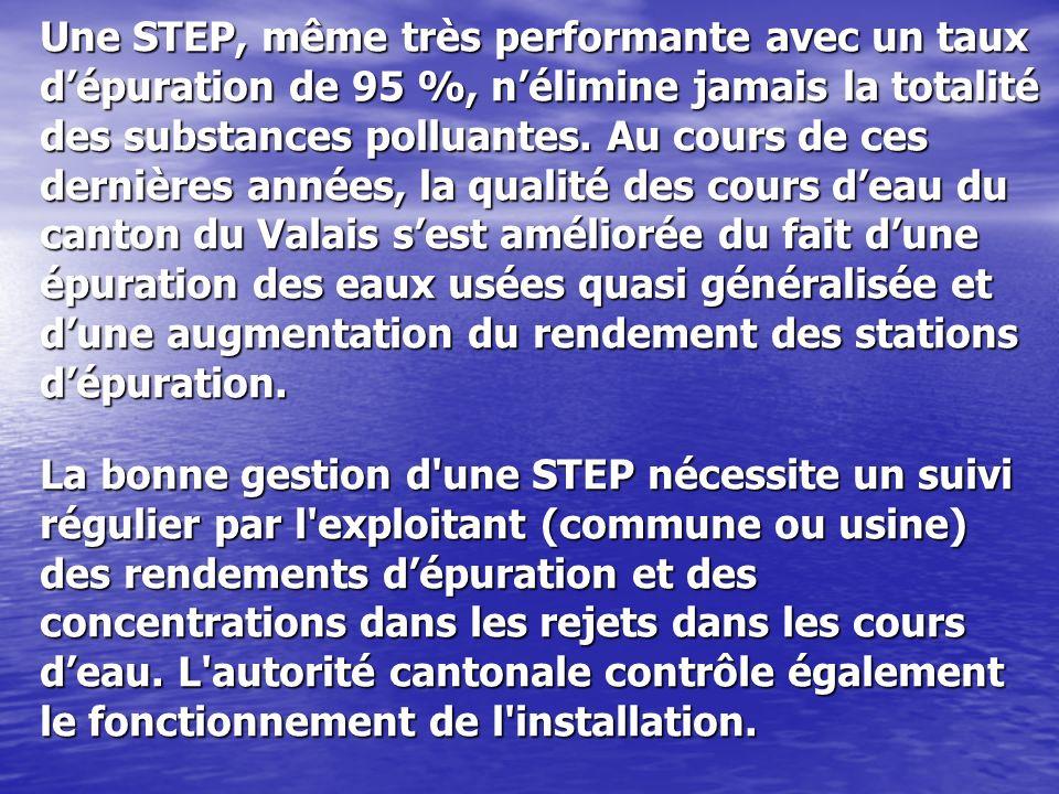 Une STEP, même très performante avec un taux d'épuration de 95 %, n'élimine jamais la totalité des substances polluantes.
