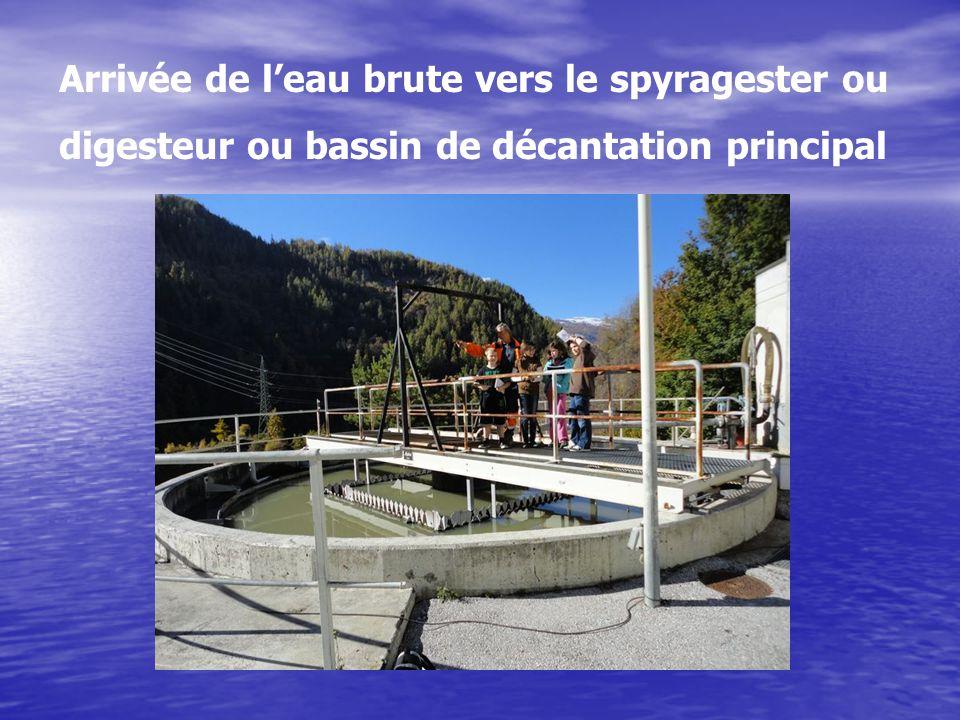 Arrivée de l'eau brute vers le spyragester ou